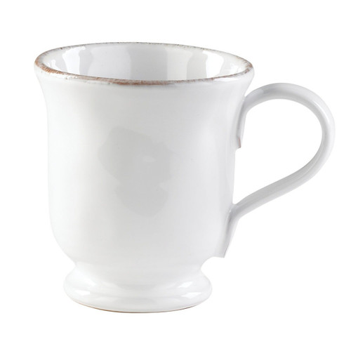 "The Bianco White Footed Mug features the charming, distinct shapes and rustic deckled edges of our Tuscan Solid collections. 4.25""H, 12 oz BIA-2602"
