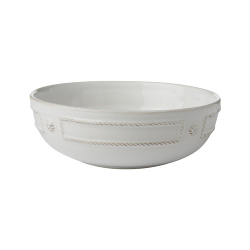 """Berry & Thread French Panel Whitewash Coupe Pasta Bowl  № JB08/W  Crafted with abundance in mind, we know more is more when it comes to your midweek pasta dinner or healthy soul-stirring stew.   Measurements: 7.25"""" W x 2.5"""" H Capacity: 28 ounces Made of Ceramic Stoneware Oven, Microwave, Dishwasher, and Freezer Safe Made in Portugal"""