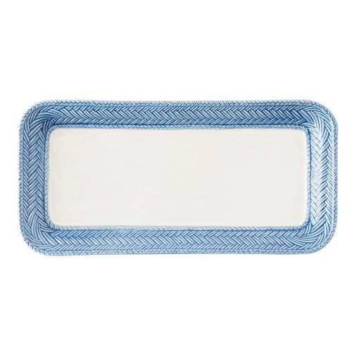 """Le Panier White/Delft Blue Hostess Tray  № KH54/44  From our Le Panier Collection - Inspired by the French basket weave often found in equestrian and nautical traditions, this tray is trimmed with a beautifully hand-painted Delft Blue herringbone band. Ideal for both host and hostess, it can house spectacles on a desktop or display homemade truffles for dessert.     Measurements: 6.25"""" W x 12.75"""" L Made of Ceramic Stoneware Oven, Microwave, Dishwasher, and Freezer Safe Made in Portugal"""