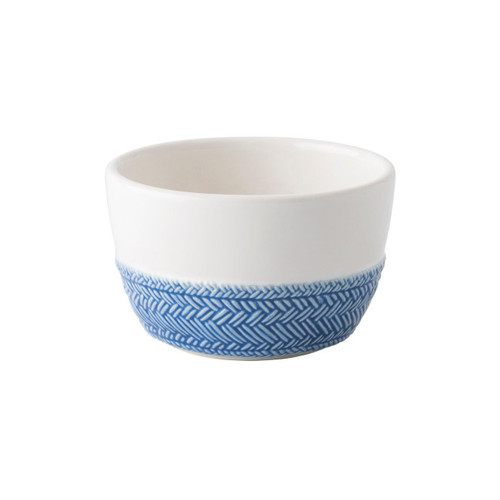 """Le Panier White/Delft Blue Ramekin  № KH12/44  From our Le Panier Collection - Inspired by the French basket weave often found in equestrian and nautical traditions, this ramekin features a beautifully hand-painted Delft Blue herringbone base. Ideal for individually sized indulgences like mini apple cobblers, petite flowerpots or elegant catchalls for trinkets.     Measurements: 4"""" W x 2.5"""" H Capacity: 10 ounces Made of Ceramic Stoneware Oven, Microwave, Dishwasher, and Freezer Safe Made in Portugal"""
