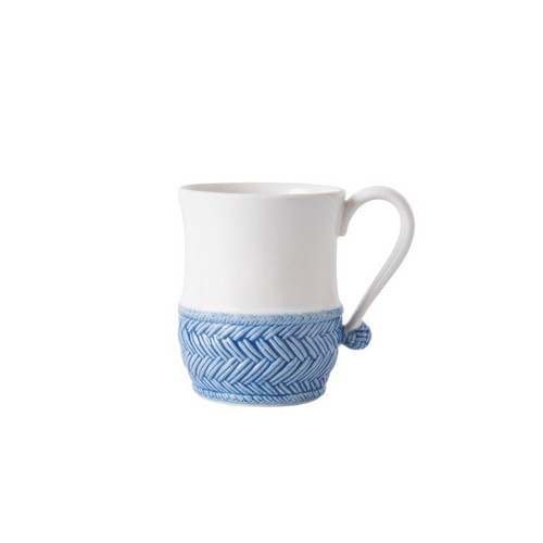 """Le Panier White/Delft Blue Mug  № KH06/44  From our Le Panier Collection - Inspired by the French basket weave often found in equestrian and nautical traditions, the herringbone base is beautifully hand-painted in a windswept Delft Blue while a graceful handle is finished with a sailor's knot.     Measurements: 3.5"""" W x 4.5"""" H Capacity: 16 ounces Made of Ceramic Stoneware Oven, Microwave, Dishwasher, and Freezer Safe Made in Portugal"""