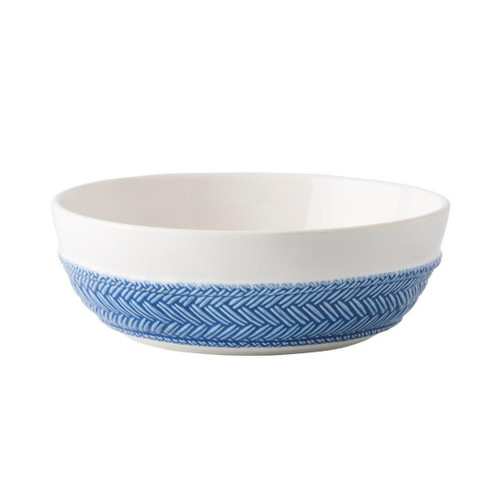 "Le Panier White/Delft Blue Pasta/Soup Bowl  № KH81/44  From our Le Panier Collection - Inspired by the French basket weave often found in equestrian and nautical traditions, the prodigiously portioned bowl features a beautifully hand-painted Delft Blue herringbone band.     Measurements: 7.75"" W x 2.5"" H Capacity: 1 quart Made of Ceramic Stoneware Oven, Microwave, Dishwasher, and Freezer Safe Made in Portugal"