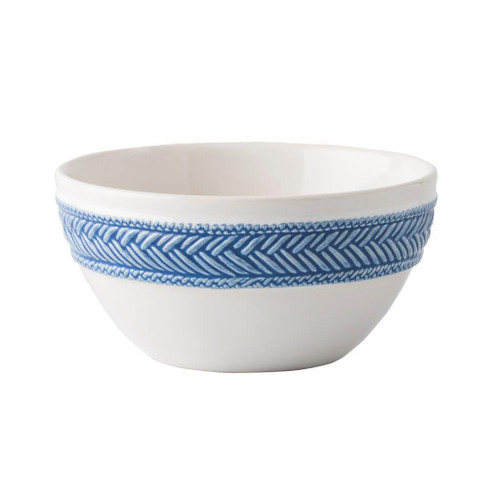 """Le Panier White/Delft Blue Cereal/Ice Cream Bowl  № KH07/44  From our Le Panier Collection - Inspired by the French basket weave often found in equestrian and nautical traditions, this bowl is rimmed with a beautifully hand-painted Delft Blue herringbone band.     Measurements: 6"""" W x 3"""" H Capacity: 24 ounces Made of Ceramic Stoneware Oven, Microwave, Dishwasher, and Freezer safe Made in Portugal"""
