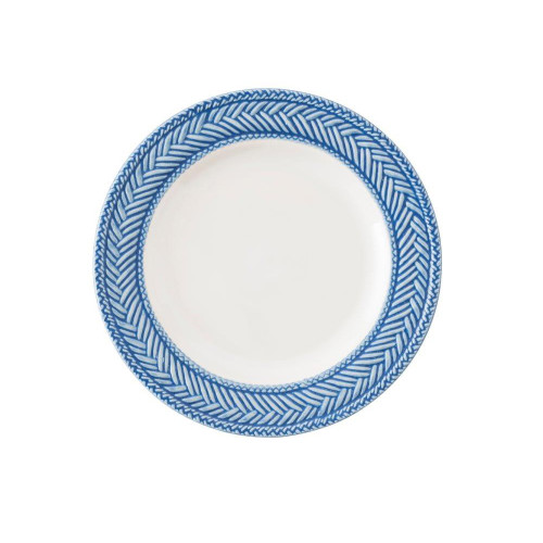 """Le Panier White/Delft Side/Cocktail Plate  № KH03/44  From our Le Panier Collection- Inspired by the French basket weave often found in equestrian and nautical traditions, the border is beautifully hand-painted in a windswept delft blue.   Measurements: 7"""" W Made of Ceramic Stoneware Oven, Microwave, Dishwasher, and Freezer Safe Made in Portugal"""