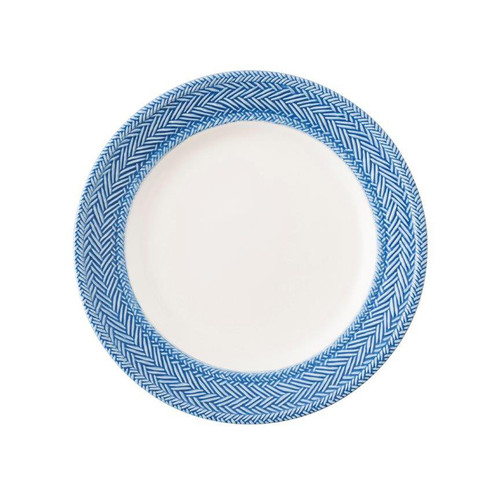 """Le Panier White/Delft Dessert/Salad Plate  № KH02/44  From our Le Panier Collection- Inspired by the French basket weave often found in equestrian and nautical traditions, the border is beautifully hand-painted in a windswept delft blue.     Measurements: 9"""" W Made of Ceramic Stoneware Oven, Microwave, Dishwasher, and Freezer Safe Made in Portugal"""