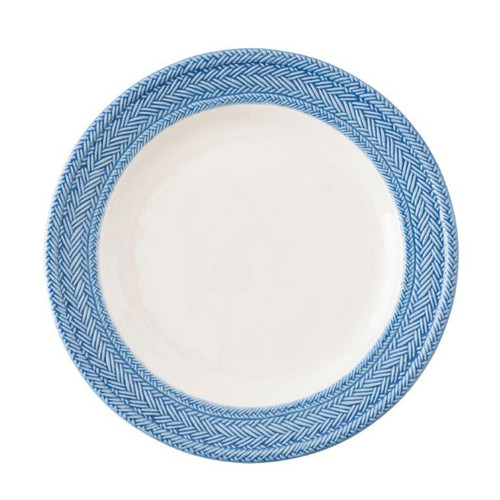 """Le Panier White/Delft Dinner Plate  № KH01/44  From our Le Panier Collection- Inspired by the French basket weave often found in equestrian and nautical traditions, the border is beautifully hand-painted in a windswept Delft Blue.     Measurements: 11"""" W Made of Ceramic Stoneware Oven, Microwave, Dishwasher, and Freezer Safe Made in Portugal"""