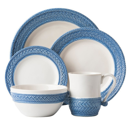 """Le Panier White/Delft 5pc Setting  № KH29/44  From our Le Panier Collection – Inspired by the French basket weave often found in equestrian and nautical traditions, the border is beautifully hand-painted in a windswept Delft Blue. Contains a dinner plate, dessert/salad plate, side plate, cereal/ice cream bowl and mug.     Measurements: Dinner Plate: 11"""" W Dessert/Salad Plate: 9"""" W Side/Cocktail Plate: 7"""" W Cereal/Ice Cream Store: 6"""" W x 3"""" H Mug: 3.5"""" W x 4.5"""" H (16 oz.) Made of Ceramic Stoneware Oven, Microwave, Dishwasher, and Freezer Safe Made in Portugal"""