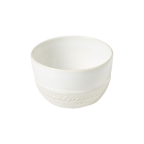 """Le Panier Whitewash Ramekin  № KH12/10  From our Le Panier Collection - Ideal for individually sized indulgences like mini-apple cobblers and shepherd?s pies, our ramekins also happily moonlight as petite flower pots and elegant catch-alls for trinkets and baubles.  Measurements: 4"""" W, 2.5"""" H Capacity: 10 ounces Made of Ceramic Stoneware Oven, Microwave, Dishwasher, and Freezer Safe Made in Portugal"""
