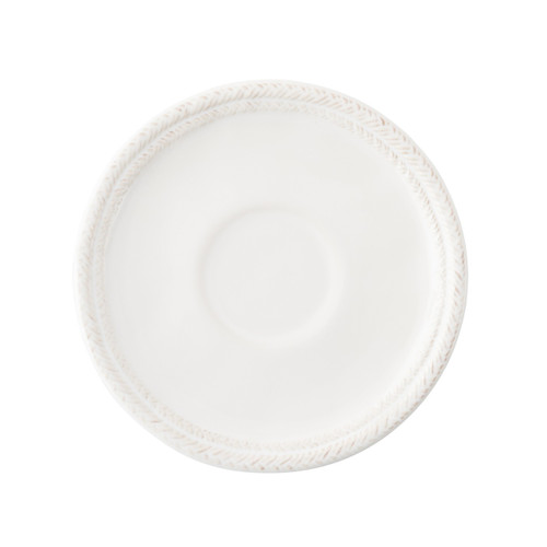 """Le Panier Whitewash Saucer  № KH05/10  From our Le Panier Collection - From lemon slice to biscotti or scone - this petite plate completes the ensemble of our tea/coffee cup and affords simply stylish sipping.  Measurements: 6.5"""" W Made of Ceramic Stoneware Oven, Microwave, Dishwasher, and Freezer Safe Made in Portugal"""