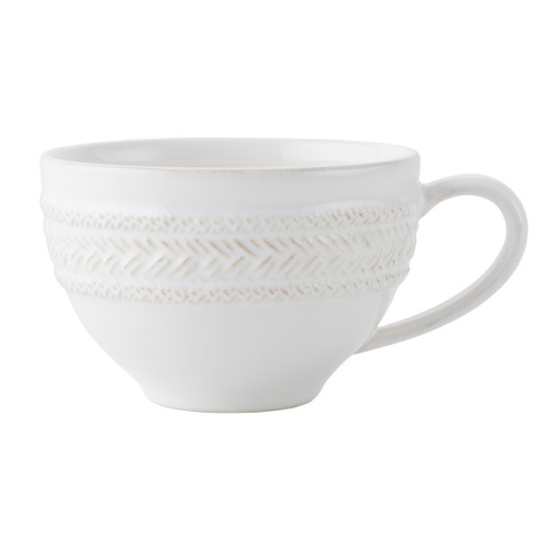 """Le Panier Whitewash Tea/Coffee Cup  № KH04/10  From our Le Panier Collection - This cup partners grace with texture for a look that is warm and welcoming. We like ours on the terrace for tea with lavender macarons.  Measurements: 4.5"""" W, 3"""" H  Capacity: 14 ounces Made of Ceramic Stoneware Oven, Microwave, Dishwasher, and Freezer Safe Made in Portugal"""