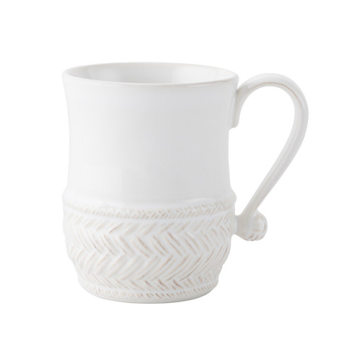 """Le Panier Whitewash Mug  № KH06/10  From our Le Panier Collection - For a morning cup of café au lait or steaming tea - after late-night feasting with friends - this mug suits masculine and feminine sensibilities equally. A basket-weave motif at the base lends a traditional air while a graceful handle is finished with a sailor's knot.  Measurements: 3.5"""" W, 4.5"""" H Capacity 16 ounces Made of Ceramic Stoneware Oven, Microwave, Dishwasher, and Freezer Safe Made in Portugal"""