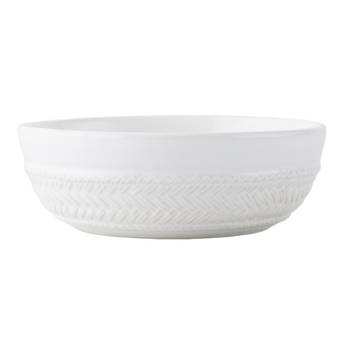 """Le Panier Whitewash Coupe Pasta/Soup Bowl  № KH81/10  From our Le Panier Collection - Have more of what you love in this prodigiously portioned bowl that is rimmed with our rich basket weave. Both sophisticated and rustic, it begs to be filled with soul-soothing, one-pot comfort fare like beef bourguignon or gumbo.  Measurements: 7.75"""" W, 2.5"""" H  Capacity: 1 quart Made of Ceramic Stoneware Oven, Microwave, Dishwasher, and Freezer Safe Made in Portugal"""