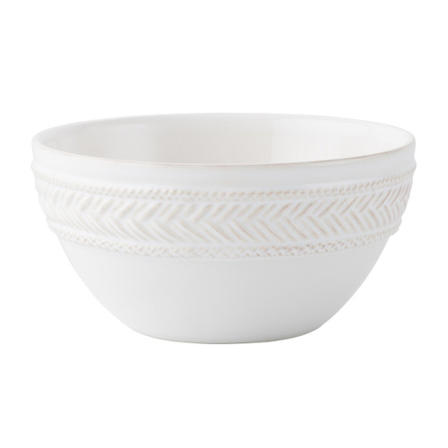 "Le Panier Whitewash Cereal/Ice Cream Bowl  № KH07/10  From our Le Panier Collection - An understated silhouette in our luxe whitewash glaze is adorned with a single rim of woven herringbone for easy mixing and matching with other collections. We love ours filled with apple cinnamon quinoa when we are feeling healthy - or bourbon-spiked sweet potatoes when we're feeling cheeky.  Measurements: 6"" W  Capacity: 24 ounces Made of Ceramic Stoneware Oven, Microwave, Dishwasher, and Freezer Safe Made in Portugal"