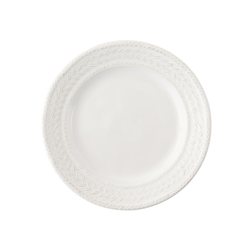 """Le Panier Whitewash Side Plate  № KH03/10  From our Le Panier Collection - A sunny nook, warm croissant and morning paper are ideal companions to this classic plate - and the combination thereof just may whisk your thoughts away to a Provencal seaside village in springtime.  Measurements: 7"""" W Made of Ceramic Stoneware Oven, Microwave, Dishwasher, and Freezer Safe Made in Portugal"""