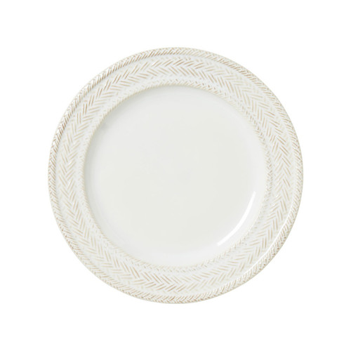 """Le Panier Whitewash Dessert/Salad Plate  № KH02/10  From our Le Panier Collection - With our signature whitewash glaze and timelessly elegant basket-weave motif, this handy plate easily mixes into other collections for a splash of rich texture.  Measurements: 9"""" W Made of Ceramic Stoneware Oven, Microwave, Dishwasher, and Freezer Safe Made in Portugal"""