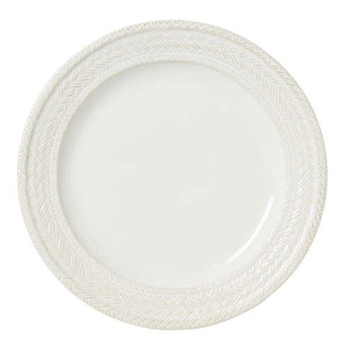 """Le Panier Whitewash Dinner Plate  № KH01/10  From our Le Panier Collection - Like a treasured steed from your stable, this plate is the elegant workhorse of your collection. Our signature whitewash glaze is embellished by our traditional French basket-weave rim to provide the perfect canvass for your every culinary adventure  Measurements: 11"""" W Made of Ceramic Stoneware Oven, Microwave, Dishwasher, and Freezer Safe Made in Portugal"""