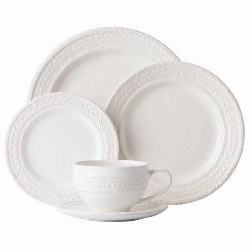 "Le Panier Whitewash 5pc Setting  № KH29/10  From our Le Panier Collection - This sophisticated 5 piece place setting in whitewash was inspired by the French basket weave often found in equestrian and nautical traditions. Contains a dinner plate, dessert/salad plate, side plate, tea/coffee cup and saucer.  Measurements Dinner Plate: 11"" W Dessert/Salad Plate: 9"" W Side/Cocktail: 7"" W Saucer: 6.5"" W Tea/Coffee Cup: 4.5"" W, 3"" H (14 oz.) Made of Ceramic Stoneware Oven, Microwave, Dishwasher, and Freezer Safe Made in Portugal"