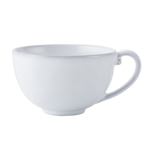 "Quotidien White Truffle Tea/Coffee Cup  № KQ04/17  From our Quotidien Collection - Idyllic and elegant, our robust cup in white will warm you with its understated charm. Beautiful, simply.   Measurements: 4.5"" W x 3""H Capacity: 10 ounces Made of Ceramic Stoneware Oven, Microwave, Dishwasher, and Freezer Safe Made in Portugal"