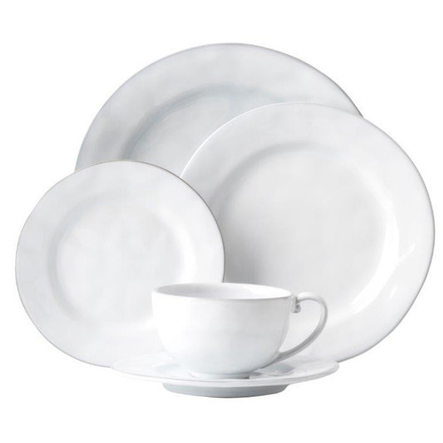 """Quotidien White Truffle 5pc Setting  № KQ29/17  From our Quotidien Collection - Fresh and simple. Timeless and elegant. Our handsome white Quotidien 5 piece place setting contains a dinner plate, dessert/salad plate, side plate, coffee/tea cup and saucer. Our ceramic stoneware is made in Portugal and is oven, microwave, dishwasher and freezer safe.  Measurements: Dinner Plate: 11"""" W Dessert/Salad Plate: 9"""" W Side/Cocktail Plate: 7"""" W Saucer: 7"""" W Tea/Coffee Cup: 4.5"""" W x 3"""" H (10 ounces) Made of Ceramic Stoneware Oven, Microwave, Dishwasher, and Freezer Safe Made in Portugal"""
