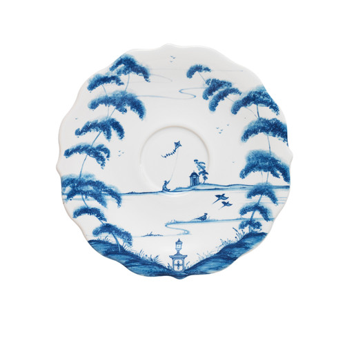 "Country Estate Delft Blue Saucer Garden Follies  № CE05/44  From our Country Estate Collection - Nestle our teacup upon its idyllic saucer, close your eyes, and sip away... Featuring Kite Fliers. Our ceramic stoneware is made in Portugal and is microwave, dishwasher, oven, and freezer safe.  Measurements: 7""W Made of Ceramic Stoneware Oven, Microwave, Dishwasher, and Freezer Safe Made in Portugal"