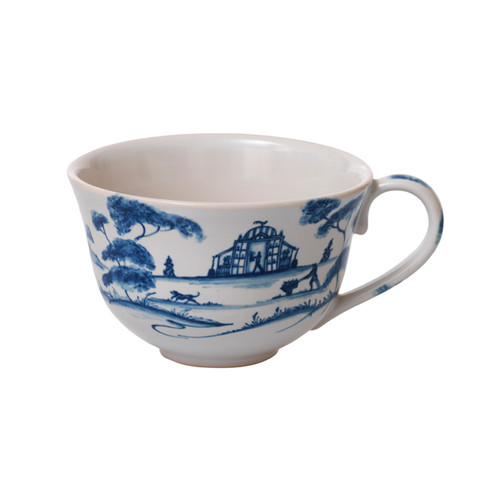 "Country Estate Delft Blue Tea/Coffee Cup Garden Follies  № CE04/44  From our Country Estate Collection - We admit to a modicum of Prejudice but remain devotedly Prideful in our charming teacup that evokes positively romantic Senses and Sensibilities. Open the gate to an English garden a la Mansfield Park, sit in the shade with your cup of tea, and enjoy the verdure, for the most perfect of life's refreshments. Featuring: Tea Party Tent, Reading Pavilion, and Conservatory. Our ceramic stoneware is made in Portugal and is microwave, dishwasher, oven, and freezer safe.  Measurements: 4.5""W, 3"" H  Capacity: 8 ounces Made of Ceramic Stoneware Oven, Microwave, Dishwasher, and Freezer Safe Made in Portugal"
