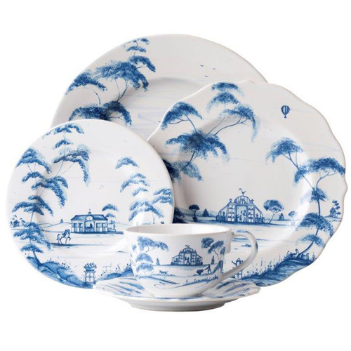"Country Estate Delft Blue 5pc Setting  № CE29/44  From our Country Estate Collection- Featuring narratives of the English Countryside, our 5 piece place setting in Delft Blue contains a charger, dinner plate, side plate, coffee/tea cup and saucer. Our ceramic stoneware is made in Portugal and is oven, microwave, dishwasher and freezer safe.  Measurements Dinner Plate: 11"" W Dessert/Salad Plate: 9"" W Side/Cocktail Plate: 7"" W Saucer: 7"" W Tea/Coffee Cup: 4.5"" W, 3"" H (8oz.) Made of Ceramic Stoneware Oven, Microwave, Dishwasher, and Freezer Safe Made in Portugal"