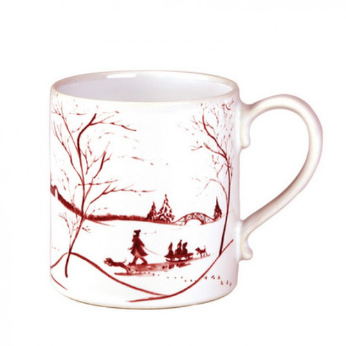 """Country Estate Winter Frolic Ruby Mug  № CE06/73  From our Country Estate Collection - Perfect for sipping piping hot coffee on icy mornings or fireside hot chocolates on frosty evenings. From sleigh rides to skating, the Country Estate is bustling with wintry activities. Our ceramic stoneware is made in Portugal and is oven, microwave, dishwasher and freezer safe.s  Measurements: 3.5"""" W, 4"""" H Capacity: 4 ounces Made of Ceramic Stoneware Oven, Microwave, Dishwasher, and Freezer Safe Made in Portugal"""