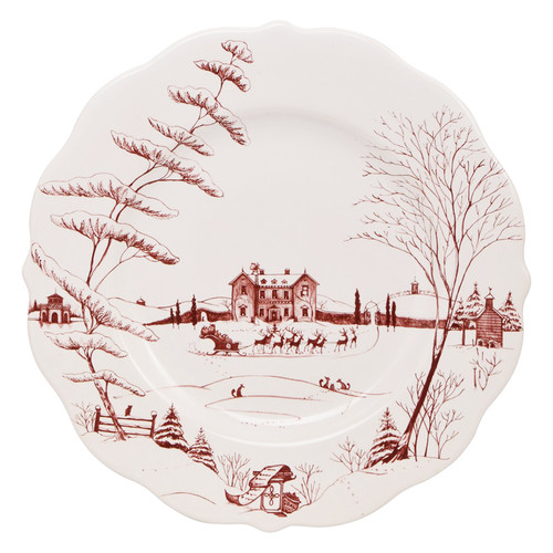 "Country Estate Winter Frolic Ruby Dinner Plate Christmas Eve  № CE01X/73  From our Country Estate Collection - All that's merry and bright sparkles from the festive ruby winter scene of our scalloped edge dinner plate. The perfect backdrop to your winter celebration, our plate mixes beautifully with our other collections. Our ceramic stoneware is made in Portugal and is oven, microwave, dishwasher and freezer safe.  Measurements: 11"" W Made of Ceramic Stoneware Oven, Microwave, Dishwasher, and Freezer Safer Made in Portugal"