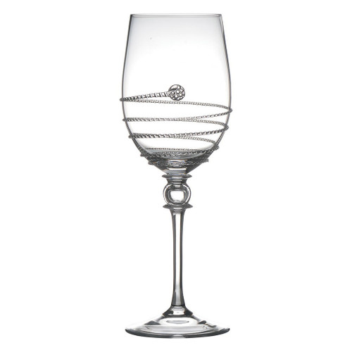 "Amalia Light Body White Wine Glass  № B480A/C  From our Amalia Collection - The ascending glass detailing mirrors the swirling, crisp Sauvignon Blanc or Pinot Grigio it contains. The slender bowl of our Amalia Light Body White Wine Glass directs the flow of wine to the front of the palate to capture the balance of fruit and acidity.s  Measurements: 3"" W, 9"" H Capacity: 12 ounces Made in Czech Republic Dishwasher safe, Warm gentle cycle.  Not suitable for hot contents, freezer or microwave use."