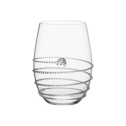 "Amalia Stemless White Wine Glass  № B375/C  From our Amalia Collection - We've given the classic stemless wine glass a decadent twist with our signature Amalia swirl and single berry accent, to pair perfectly with your favorite vintages, upscale cocktail fetes, and casual summer nights on the veranda. The stemless design makes it sublimely easy to throw in the dishwasher at evening's end.  Measurements: 4.5"" H Capacity: 14 ounces Made in Czech Republic Dishwasher safe, Warm gentle cycle. Not suitable for hot contents, freezer or microwave use."