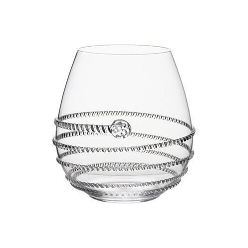 "Amalia Stemless Red Wine Glass  № B374/C  From our Amalia Collection - We've given the classic stemless wine glass a decadent twist with our signature Amalia swirl and single berry accent. The perfect vessel to sip and swirl your favorite vintages, signature cocktail, or sparkling water with a sprig of fresh mint and a slice of lime. The stemless design makes it sublimely easy to throw in the dishwasher at evening's end.  Measurements: 4"" H Capacity: 18 ounces Made in Czech Republic Dishwasher safe, Warm gentle cycle. Not suitable for hot contents, freezer or microwave use."