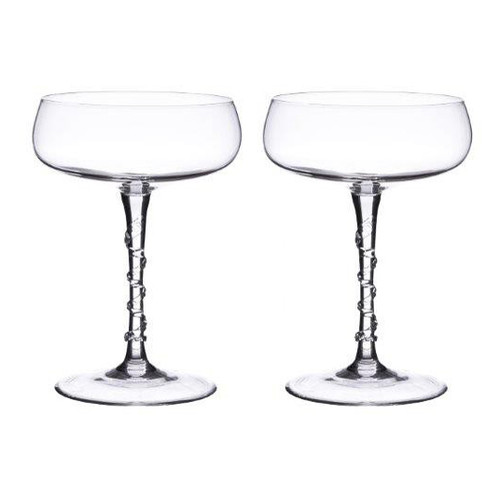 "Amalia Champagne Coupe Set of 2  № B467SET/C  From our Amalia Collection-This set of two traditional champagne coupes, make a celebratory gift. Sip champagne or serve sorbet from the saucer shaped bowl atop a spiraled stem. Our most prolific Bohemian mouth-blown glass collection features an iconic spiral themed design ascending from its base accented with our signature berry.     Measurements: 5"" H Capacity: 4 ounces Made of Mouth-Blown Glass Dishwasher safe on gentle cycle, Hand Washing Preferred Made in Czech-Republic Set comes packaged in our signature gift box"