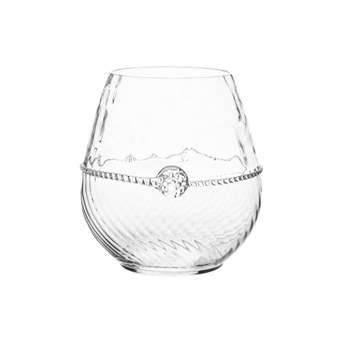 Graham Stemless Red Wine Glass  № B399/C  From our Graham Collection - Our perfectly proportioned glass twinkles in the candlelight. Dressed in optic glass from the waist down and belted with a charming sash, our glass is as classic as the vintages it contains.  Measurements: 4'' H Capacity: 18 ounces Made in Czech Republic Dishwasher safe, Warm gentle cycle. Not suitable for hot contents, freezer or microwave use.
