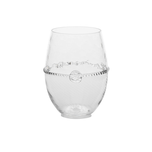"""Graham Stemless White Wine Glass  № B398/C  From our Graham Collection - Stunning optic glass catches the sun as you enjoy a crisp white wine or chilled cocktail on a summer afternoon. This modern essential adds sparkle to your everyday dining.  Measurements: 4.5"""" H Capacity: 14 ounces Made in Czech Republic Dishwasher safe, Warm gentle cycle. Not suitable for hot contents, freezer or microwave use."""