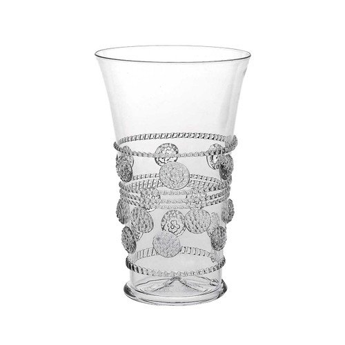 "Isabella 6"" Tumbler  № B143/C  From our Isabella Collection - Make a personal statement with this exceptional glass whose intricate design details seem to bubble and brim with charm. Wonderfully adaptable for water, juice, cocktails or as an artful flower vase.  Measurements: 6"" H Capacity: 16 ounces Made in Czech Republic Dishwasher safe, Warm gentle cycle. Hand washing is recommended for large or highly decorated pieces Not suitable for hot contents, freezer or microwave use."
