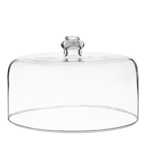 """Berry & Thread Cake Dome  № B719/C  From our Berry & Thread Collection- For the consummate hostess, baker, and those who deem such items a necessity, not a whim...rejoice! This cake dome is constructed of our sturdiest mouth blown glass from Portugal, enabling you to infuse your everyday entertaining with a healthy (and sweet) dose of elegance.  Measurements: 11"""" W, 6"""" H Made in Portugal Dishwasher safe. Warm gentle cycle. Hand washing is recommended for large or highly decorated pieces Not suitable for hot contents, freezer or microwave use"""
