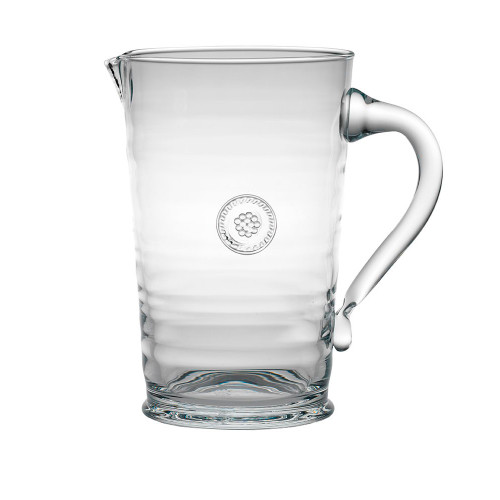 """Berry & Thread Glass Pitcher  № B705/C  From our Berry & Thread Collection - From bunches of blooms to your freshest juices, our mouth blown glass pitcher crafted by artisans in Portugal offers an organic texture blending everyday elegance with practicality. Neatly trimmed with our signature berry and thread medallion.  Measurements: 8.5"""" H Capacity: 2.2 quarts Made in Portugal Dishwasher safe. Warm gentle cycle. Hand washing is recommended for large or highly decorated pieces Not suitable for hot contents, freezer or microwave use"""