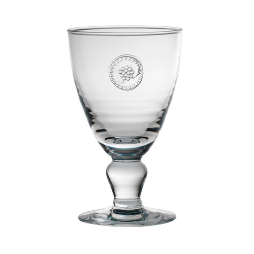 "Berry & Thread Footed Goblet  № B701/C  From our Berry & Thread Collection -Raise your glass in cheer! Our footed goblet sets the stage for your exquisite celebration. Adorned with a sweet berry and thread medallion our goblet stylishly blends elegance and function.  Measurements: 3.75"" W, 6.5"" H Capacity: 16 ounces Made in Portugal Dishwasher safe. Warm gentle cycle. Not suitable for hot contents, freezer or microwave use"