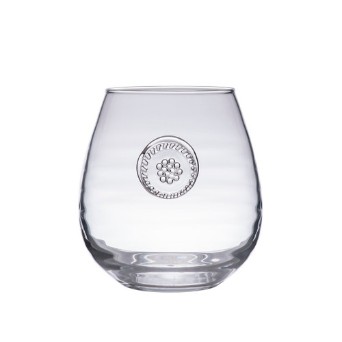 "Berry & Thread Stemless Red Wine Glass  № B718/C  From our Berry & Thread Collection- Constructed of our sturdiest mouth blown glass from Portugal, these glasses are the very essence of effortless entertaining. Thick enough to withstand a picnic under the stars with a fabulous Bordeaux - and elegant enough to shine in any sparkling soiree.  Measurements: 4"" H Capacity: 18 ounces Made in Portugal Dishwasher safe. Warm gentle cycle. Not suitable for hot contents, freezer or microwave use"