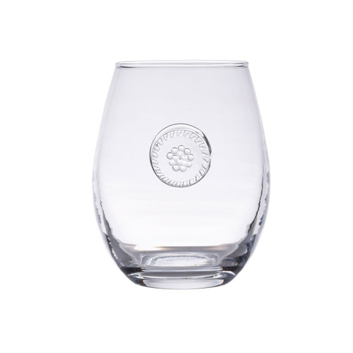 """Berry & Thread Stemless White Wine Glass  № B717/C  From our Berry & Thread Collection- Constructed of our sturdiest mouth blown glass from Portugal, these glasses are the very essence of effortless entertaining. Thick enough to withstand a frolic through the garden with a spritzer in hand - and elegant enough to shine in any sparkling soiree.  Measurements: 4.5"""" H Capacity: 14 ounces Made in Portugal Dishwasher safe. Warm gentle cycle. Not suitable for hot contents, freezer or microwave use"""