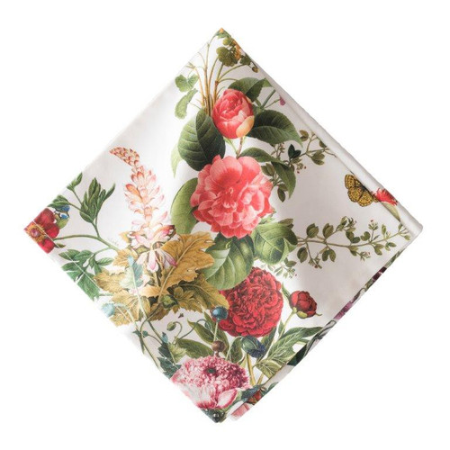 "Field of Flowers White Napkin Set/4  № LB48/10  From our Linens Collection - Sure to brighten any room, a sprinkling of bold florals married with crisp, elegant linen is a decorating match made in heaven.  Measurements: 22"" Sq Material: 100% Cotton Machine wash cool; lay flat to dry. Imported Full napkin is designed to show the same screen print any way it is folded."