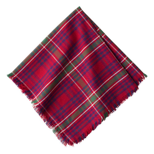 """Christmas Tartan Red Napkin Set/4  № LB64/74  Instantly festive, traditional, and bold - we've added a frayed edge to our tartan to ensure it isn't too buttoned-up.   Measurements: 20"""" Sq Material: 100% Cotton Machine wash cool; lay flat to dry. Imported"""
