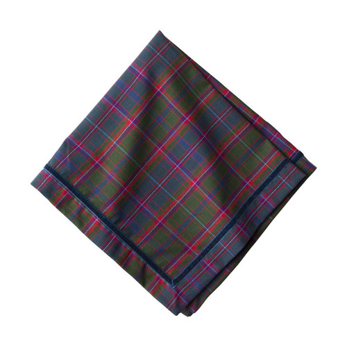 """Chalet Tartan Green Napkin Set/4  № LB66/29  With a nod to tradition and a wink to merrymaking, this classic and tailored tartan napkin is able to go from Christmas feast to bonfire supper.  Measurements: 20"""" Sq Material: 100% Cotton with Velvet trim Machine wash cool; lay flat to dry. Imported"""