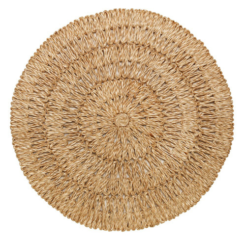 """Straw Loop Natural Placemat Set/4  № LM28/38  Energized by rich texture, our bold, natural tone placemat begs to be layered with chic pattern and color. A stylish accompaniment to our stoneware ceramics, mouth blown glassware, and flatware.  Measurements: 16""""W Material: 100% Straw Spot Clean Imported Made from a natural material that is hand dyed, allowing variance in color dependent on how the straw absorbs the dye."""
