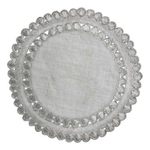 """Isadora Silver Placemat Set/4  № LM44/56  Natural woven fibers and texture are veiled in lustrous silver and embellished by a ruffled trim to create a frame for table settings that is both relaxed and elegant.   Measurements: 15"""" W Material: Sinamay Spot Clean Imported Shown here with: Country Estate Reindeer Games Santa Party Plate, French Panel Whitewash Dinner Plate, Villandry Bright Satin 5 Peice Place Setting, Snowflake Ruby Napkin, Metallic Bead Bouquet Napkin Ring, Country Estate Winter Frolic Ruby Tree Platter, Isabella Tulip 8"""" Goblet, Isabella Tulip 8.5"""" Goblet"""