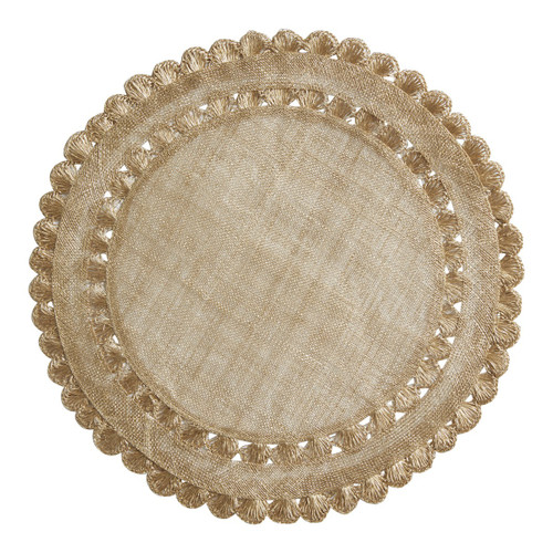 """Isadora Gold Placemat Set/4  № LM44/62  Natural woven fibers and texture are veiled in luminous gold and embellished by a ruffled rim to create a frame for table settings that is both relaxed and elegant.  Measurements: 15"""" W Material: Sinamay Spot Clean Imported"""
