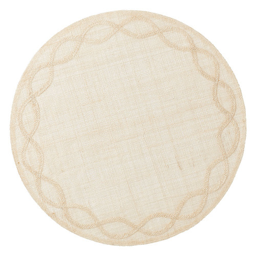 """Tuileries Garden Natural Placemat Set/4  № LM34/38  Inspired by the formal gardens of Paris, our Tuileries Garden placemat encircles your place setting with a delicate appliqued border. The soft and airy weave of our Natural mat is casual and fresh.    Measurements: 15""""W Made of Sinamay Spot Clean as Needed Imported"""