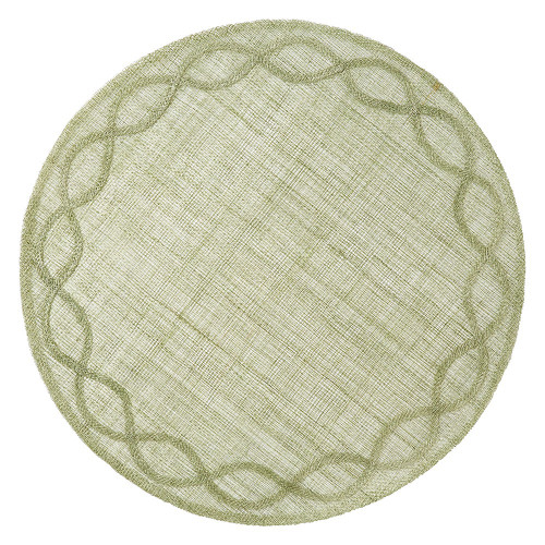 """Tuileries Garden Pistachio Placemat Set/4  № LM34/21  Inspired by the formal gardens of Paris, our Tuileries Garden placemat encircles your place setting with a delicate embroidered edge. The soft and subtle weave of our pistachio foundation piece lets your table take center stage.    Measurements: 15""""W Made of Sinamay Spot Clean as Needed Imported"""