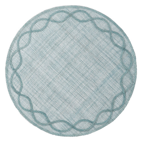 """Tuileries Garden Ice Blue Placemat Set/4  № LM34/41  Inspired by the formal gardens of Paris, our Tuileries Garden placemat encircles your place setting with a delicate appliqued border. The soft and airy weave of our ice blue mat is casual and fresh.    Measurements: 15""""W Made of Sinamay Spot Clean as Needed Imported"""