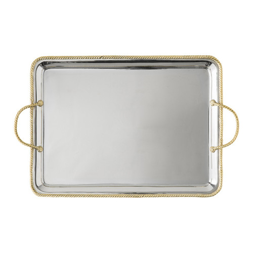 """Periton Serveware Handled Platter  № N401/67  Gleaming in silver and bright with gorgeous ropes of gold braid, this serving tray is a veritable fanfare announcing that exquisite things are on their way - be it fireside caviar and champagne or a breakfast-in-bed surprise.  Measurements: 17""""L, 13""""W Stainless steel with brass accents Care: Hand wash with a gentle detergent and dry immediately with a soft cloth. Not dishwasher, oven, or microwave safe. Do not soak or leave unwashed overnight. Do not use abrasive cleaners, steel wool, or scouring pads that can scratch and dull metal surfaces. To keep brass looking its best, create a paste of lemon and baking soda and apply to the brass surface only, rub gently with a soft cloth, then rinse - et voilà!"""